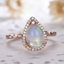 GTL Certified Gemstone Engagement 14 k Rose Gold Ring Pear White Opal