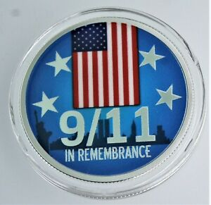 1 oz .999 silver colorized Proof 9-11 In REMEMBRENCE Patriot  in capsule