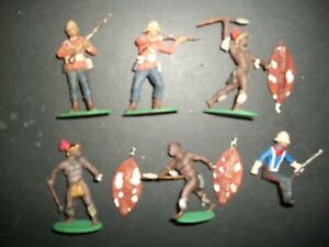 SIX 54MM PLASTIC PROFESSIONALLY PAINTED ZULUS AND REDCOATS