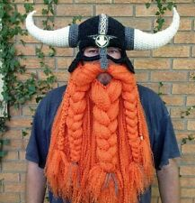 Men's Crochet Bearded Viking Hat Halloween Costume Viking Horned Beanie Warm Hat