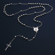 Sterling Silver 4mm Bead Rosary Necklace w/ Religious Charm & Drop Cross
