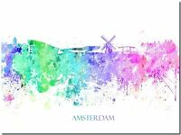"Amsterdam City Skyline Holland watercolor Abstract Canvas Art Print 12x8"""