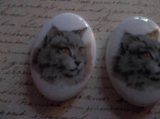 Cat Cameos - Fluffy Gray Cats - 25X18mm Oval Cabochons Made in Germany - Qty 2