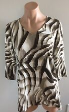 Chicos Size 0 1/2 Sleeve Small Cream And Brown Animal Print Shirt Blouse