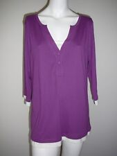 Autograph Size 16 Women's Top Skivvy Purple New Shirt Casual White Trim