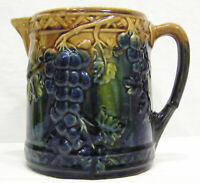 "Vtg Majolica Pitcher Blue Green Embossed Grapes & Vines 6"" Tall A Beauty !"