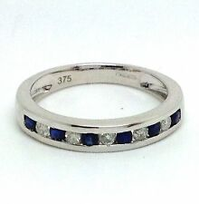 9ct White gold Sapphire & Diamond Half Eternity Ring UK Size N, channel set, new