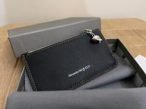 BN ALEXANDER MCQUEEN BLACK BROWN LEATHER CARD HOLDER & COIN ZIP WALLET PURSE