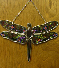 Amia Studios Suncatcher #5590 PURPLE DRAGONFLY, NEW/Box From Retail Store