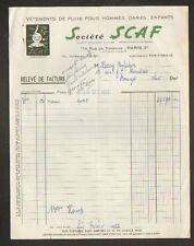 """PARIS (III°) VETEMENTS de PLUIE """"Société SCAF"""" illustrée SCAPHANDRIER en 1955"""