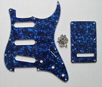 ST/Strat Style Guitar Pickguard Trem Cover SSS Blue Pearl fits Stratocaster