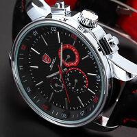 SHARK Men's Leather Date Day Stainless Steel Case Quartz Sports Wrist Watch