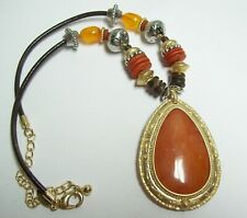 CHICOS Tangerine & Chocolate Teardrop Necklace