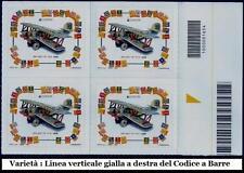**Italia 2015: Europa Cept Biplano Quartina Codice a Barre[Varietà Linea Gialla]