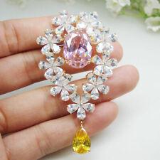 Teardrop Woman Pink Pendant Brooch pin New Zircon Citrine Crystal Elegant Flower