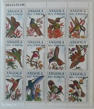 Puerto Rico 1996 Angola Hummingbird Sheet show Ruby Throated that Migrate to PR