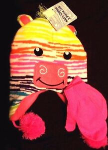 Rainbow Critter Knit  & Fleece Hat  & Pink Mittens 1 Size fits most  New