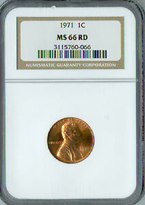 1971 LINCOLN CENT NGC MS-66 RED 2ND FINEST GRADED  .