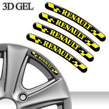 4 DOMED 3D RIM WHEEL STICKERS STRIPE RENAULT CAR AUTO EMBLEM TUNING SPORT C88