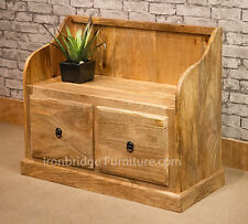 Solid Indian Natural Mango Wood Monks Bench Seat 2 Drawers Shoe Storage Mantis