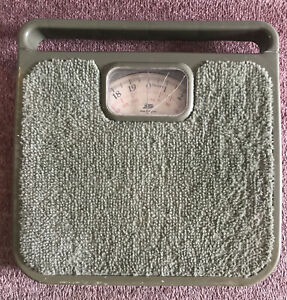 Vintage Retro 70s Boots Avocado Green Carpet Bathroom Weighing Scales Film Prop
