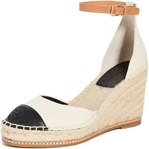 Tory Burch Women's 85mm Colorblock Wedge Espadrilles, Cream/Perfect Black