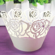 50Pcs Pearly Paper Rose Vine Cupcake Wrappers Deco Tower Table