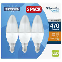 STATUS Box of 3 LED Small Edison Screw Cap Candle Bulbs - 5.5W - 470 Lumen [5.5S