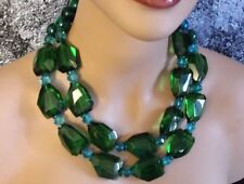 BIG EMERALD GREEN FACETED QUARTZ CRYSTAL MALACHITE NUGGET NECKLACE BOLD CHUNKY
