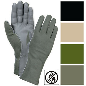 Tactical Leather Flight Gloves Flyers Military Pilot Heat & Flame Resistant AF