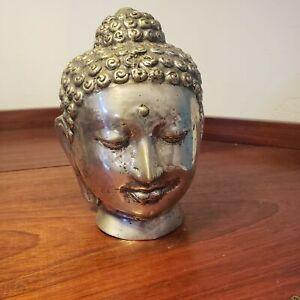 Heavy vintage metal Buddha head - vintage south east asian