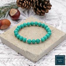 Turquoise Bracelet Genuine Stone Beads Throat Chakra Unisex Stretch Bracelet