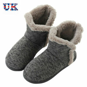 Mens Booties Slippers Winter Warm Boots Plush Indoor Thermal Shoes Anti-Slip UK