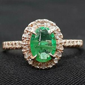 $4,899 SOLID 14K Rose Gold .81ctw Colombian Emerald & I-SI Diamond Ring Size 5.5
