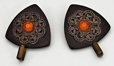 Antique Bakelite Matching Buttons with Hooks for Sweater or Coat Clasp