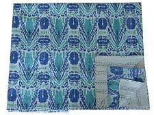 Ikat Kantha Blue Quilt Bedspread Handmade Queen Throw Coverlet Indian Blanket