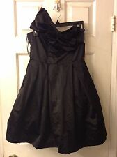 NWT Strapless Kate Young Black Satin Party Cocktail Dress: Size 4 Retail $59.99