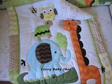 Baby Bedding Crib Set Cot 7pc Nursery Quilt Sheet Nappy Stacker Giraffe Elephant