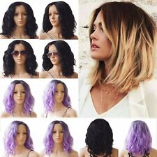 Ombre Lace Front Wig 100% Natural Long Wavy Bob Full Head Wig for Women Ladies #