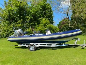 Ribtec 655 Rib Boat with Honda four stroke outboard and Indespension trailer