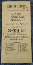 1902 List Of Entries In Grand American Handicap