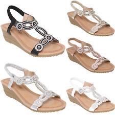 Sandalias De Mujer Damas Verano Niñas Tacón Bajo Cuña Zapatos De Playa De ESLINGA vuelta Nuevo 3-8
