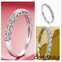 Women New Diamond Birthstone Band Sapphire Jewelry Wedding 925 Silver White Ring