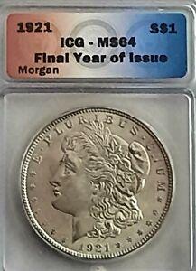 1921-P Morgan Dollar MS64 - ICG Graded in Case