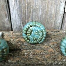Sea Green & Aqua CONCH SHELL Decorative Dresser Drawer Pull Knob Beach Nautical