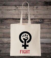 FIGHT PARA MUJER Derechos igualdad de feminista algodón Bolso Compras