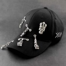 Hip Hop Punk Metal Chain SKull Bassball Cap Biker Hat Mens Adjustable