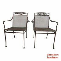 Pair Vintage Woodard Daisy Arm Chairs Outdoor Patio Porch C