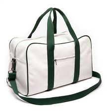 1930's Lacoste Weekender Duffle Bag Original Embossed - Classic White And Green