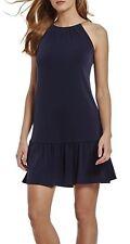 NWT MSRP $110 - MICHAEL KORS Chain Halter Flounced Hem Jersey Dress, Navy, Sz XS
